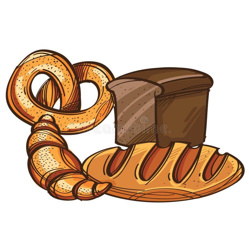 Διανυσματικό σύνολο ψωμιού, pretzel, croissant που απομονώνεται στο άσπρο υπόβαθρο ελεύθερη απεικόνιση δικαιώματος