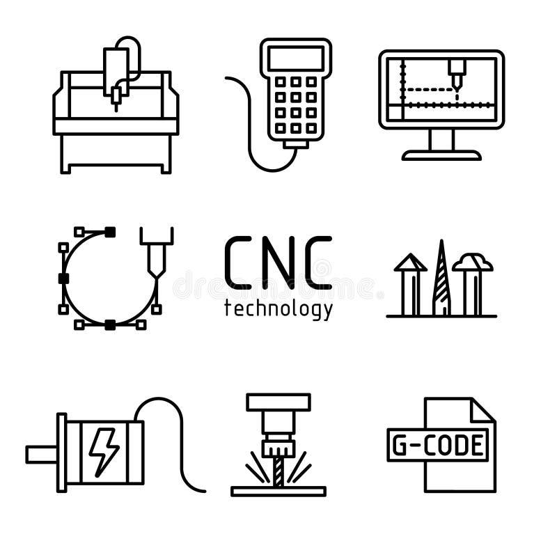 Διανυσματικό σύνολο cnc εικονιδίων μηχανών άλεσης στοκ εικόνα με δικαίωμα ελεύθερης χρήσης