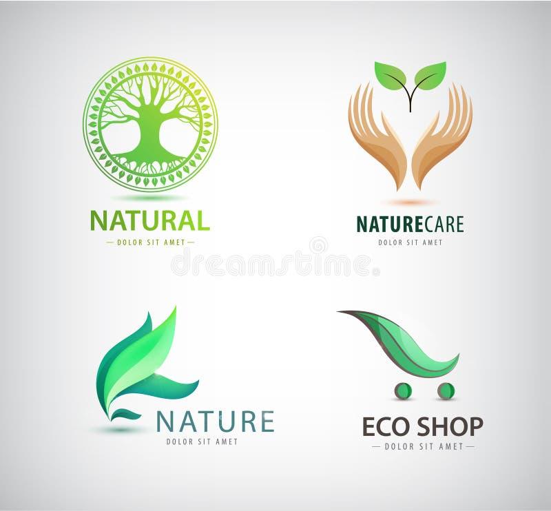 Διανυσματικό σύνολο eco, οργανικά πράσινα λογότυπα Κατάστημα Eco, φύλλο εκμετάλλευσης χεριών διανυσματική απεικόνιση