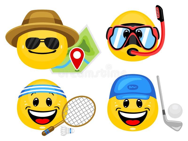 Διανυσματικό σύνολο emoticons με τις εξαρτήσεις θερινού αθλητισμού απεικόνιση αποθεμάτων