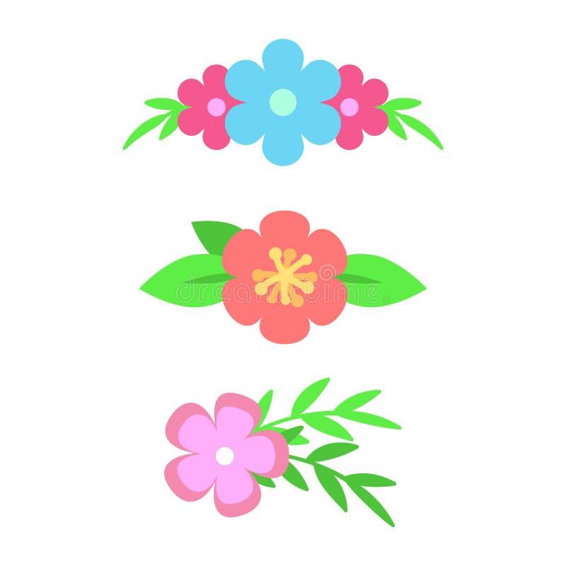 Διανυσματικό σύνολο floral διαιρετών κειμένων Λουλούδια και φύλλα Σχέδιο ανθοδεσμών για τις γαμήλιες προσκλήσεις ή τις ευχετήριες απεικόνιση αποθεμάτων