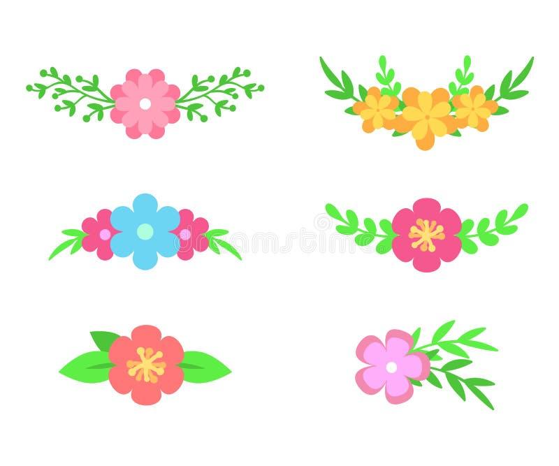 Διανυσματικό σύνολο floral διαιρετών κειμένων Λουλούδια και φύλλα Σχέδιο ανθοδεσμών για τις γαμήλιες προσκλήσεις ή τις ευχετήριες διανυσματική απεικόνιση