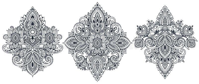 Διανυσματικό σύνολο henna floral στοιχείων διανυσματική απεικόνιση