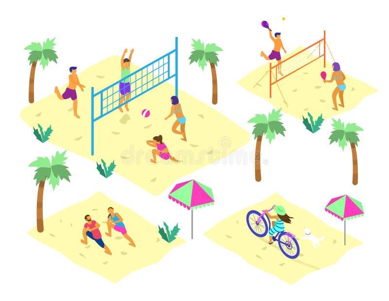 Διανυσματικό σύνολο isometric σκηνών παραλιών με τους διαφορετικούς ανθρώπους που κάνουν το θερινό αθλητισμό διανυσματική απεικόνιση