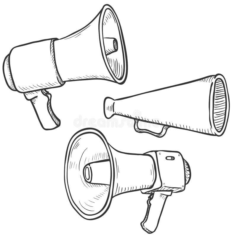Διανυσματικό σύνολο Megaphones και μεγάφωνων σκίτσων διανυσματική απεικόνιση
