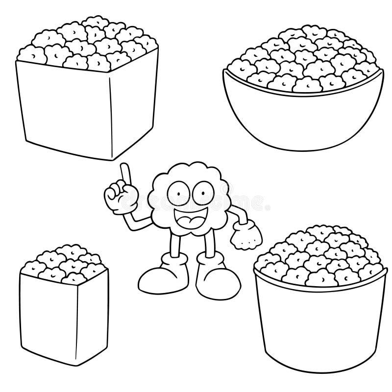 Διανυσματικό σύνολο popcorn ελεύθερη απεικόνιση δικαιώματος