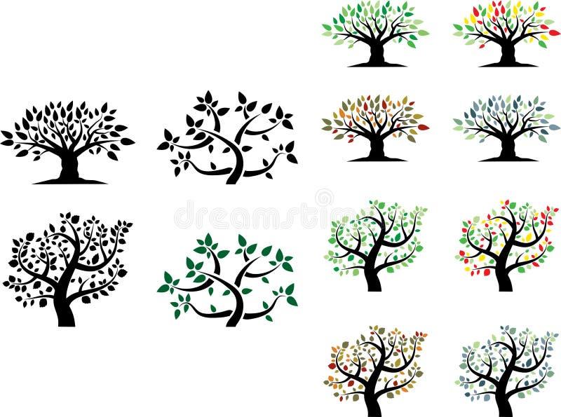Διανυσματικό σύνολο δέντρων με τις εποχές ελεύθερη απεικόνιση δικαιώματος