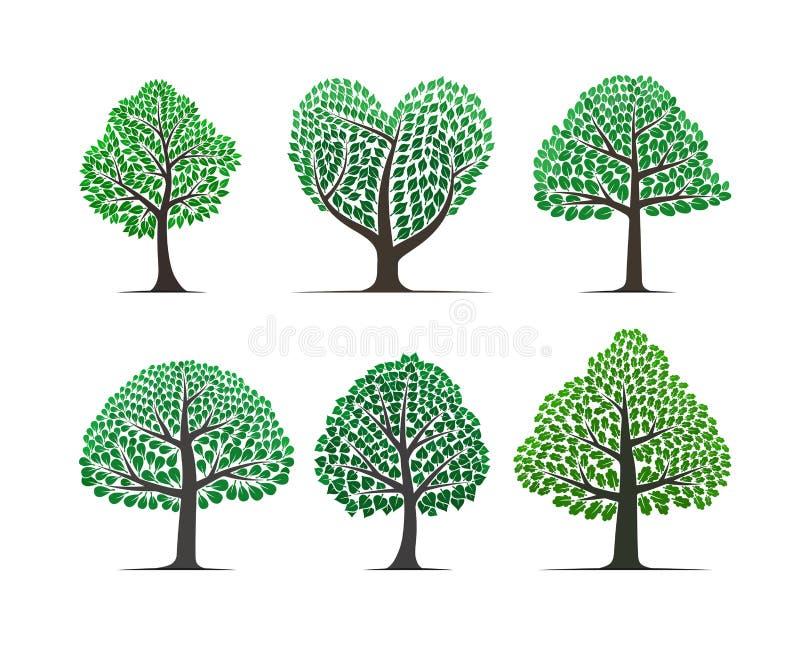 Διανυσματικό σύνολο δέντρων διανυσματική απεικόνιση