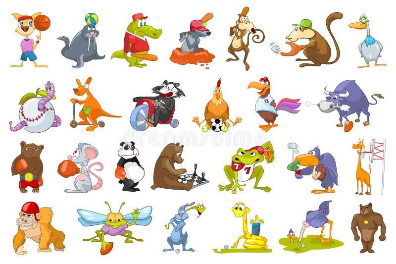 Διανυσματικό σύνολο αθλητικών απεικονίσεων ζώων διανυσματική απεικόνιση