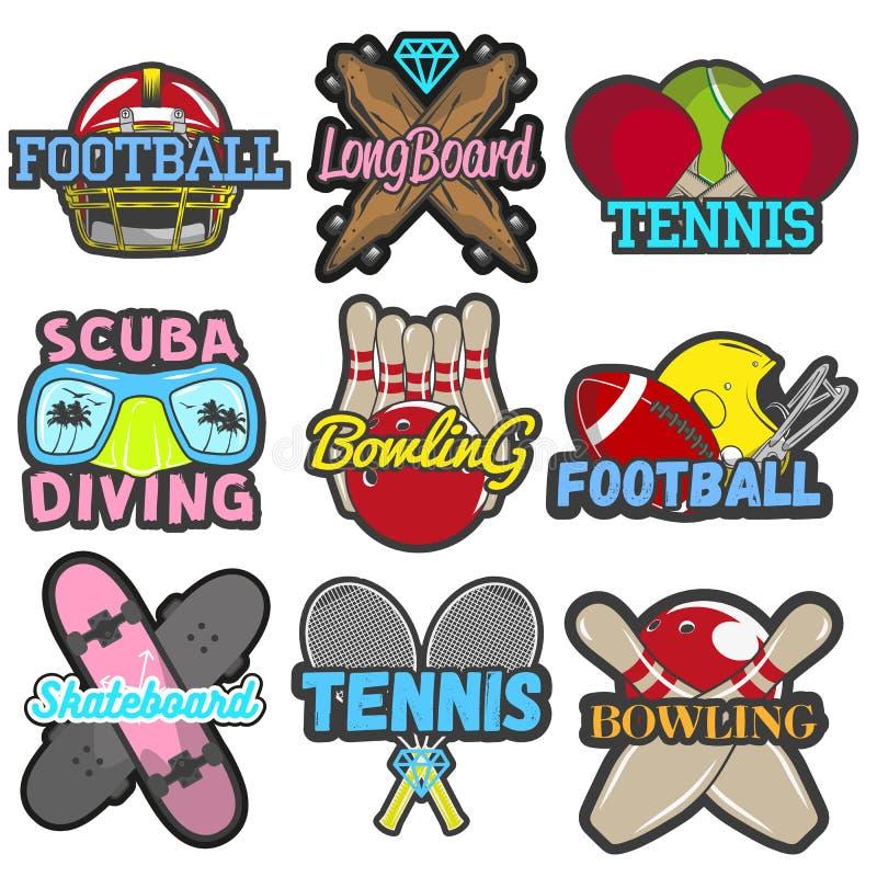 Διανυσματικό σύνολο αθλητικών εμβλημάτων, διακριτικά, λογότυπα, ετικέτες, εμβλήματα Απομονωμένα πρότυπα που κυλούν, αντισφαίριση, απεικόνιση αποθεμάτων