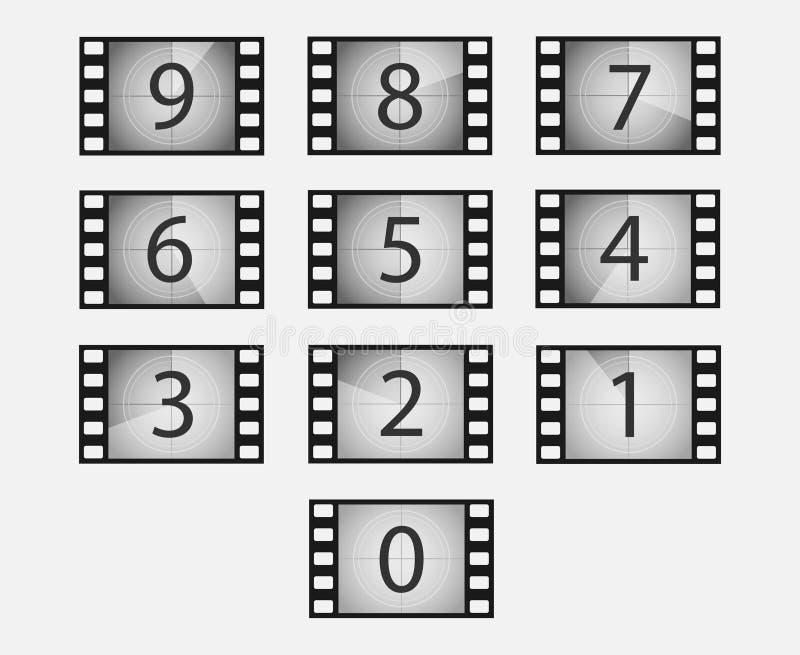 Διανυσματικό σύνολο αντίστροφης μέτρησης ταινιών ελεύθερη απεικόνιση δικαιώματος