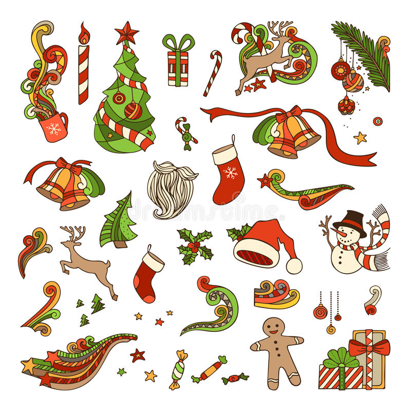 Download Διανυσματικό σύνολο αντικειμένων Χριστουγέννων Διανυσματική απεικόνιση - εικονογραφία από χέρι, κερί: 62720820
