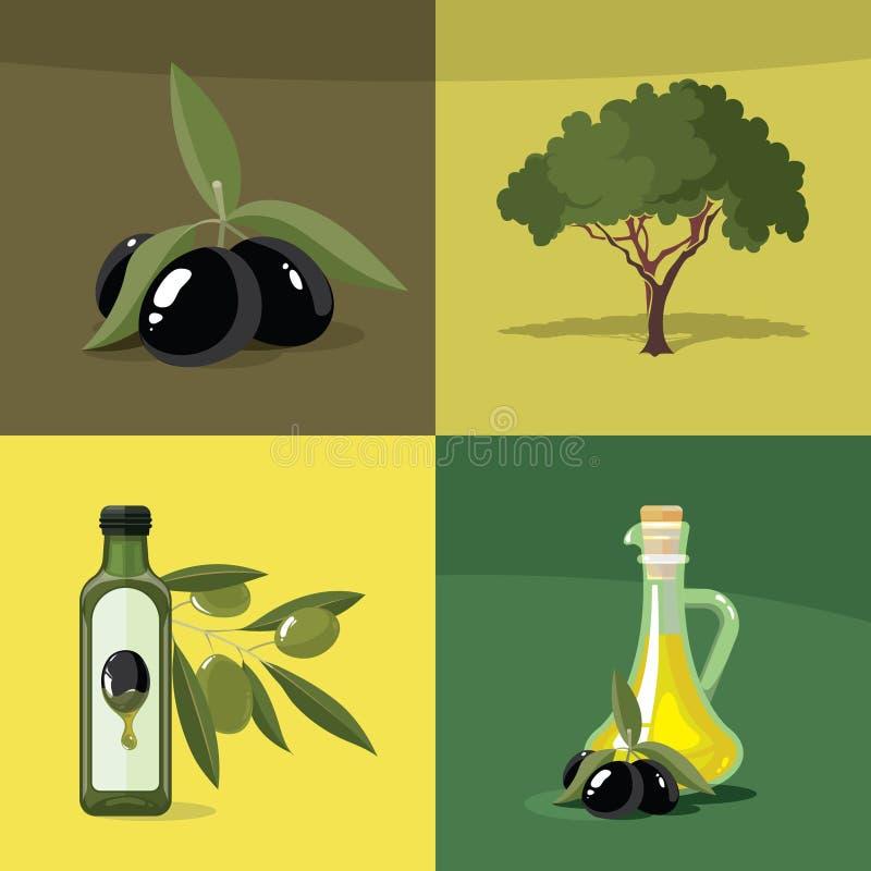Διανυσματικό σύνολο απεικονίσεων ελιών απεικόνιση αποθεμάτων