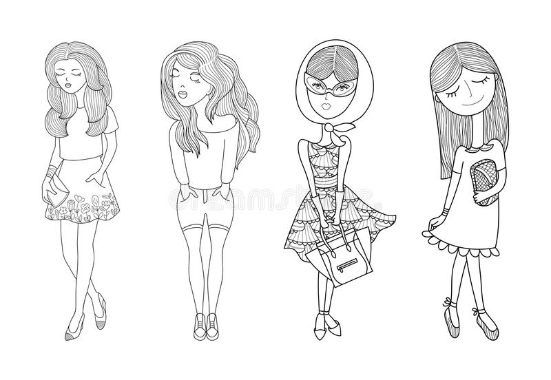 Διανυσματικό σύνολο απεικόνισης κοριτσιών κινούμενων σχεδίων Συρμένα χέρι θηλυκά εικονίδια μόδας Νέα γυναίκα στα διαφορετικά σκίτ διανυσματική απεικόνιση