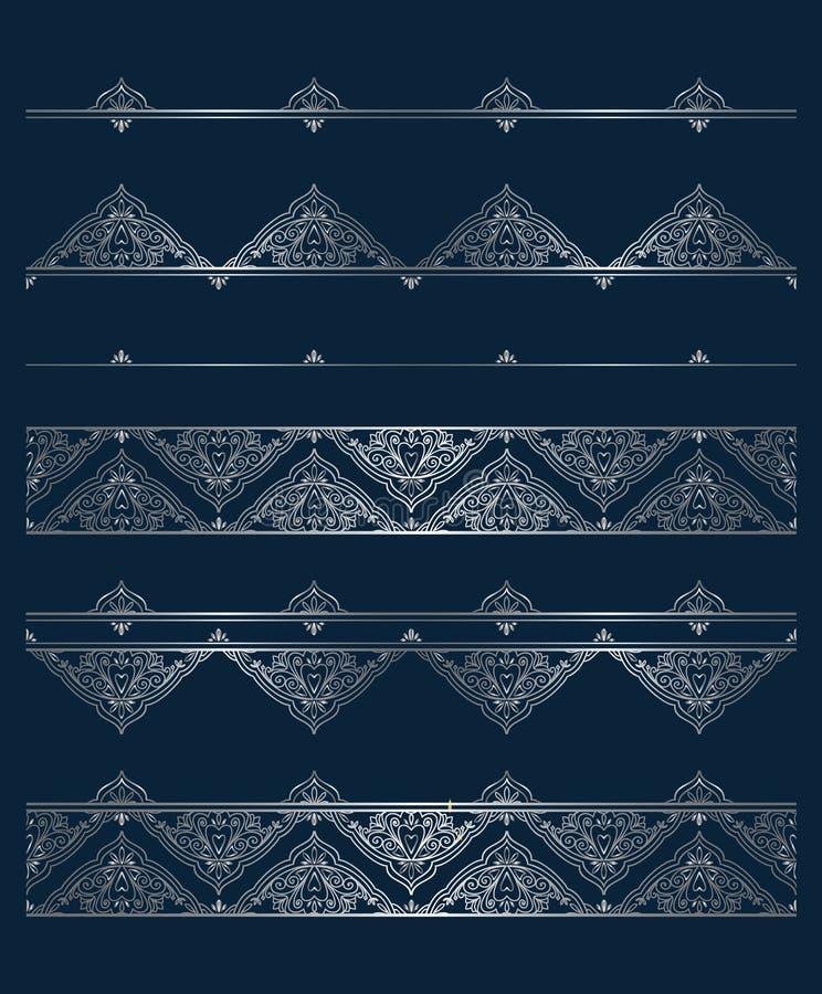 Διανυσματικό σύνολο ασημένιων σύντομων χρονογραφημάτων και συνόρων για το πρότυπο σχεδίου απεικόνιση αποθεμάτων