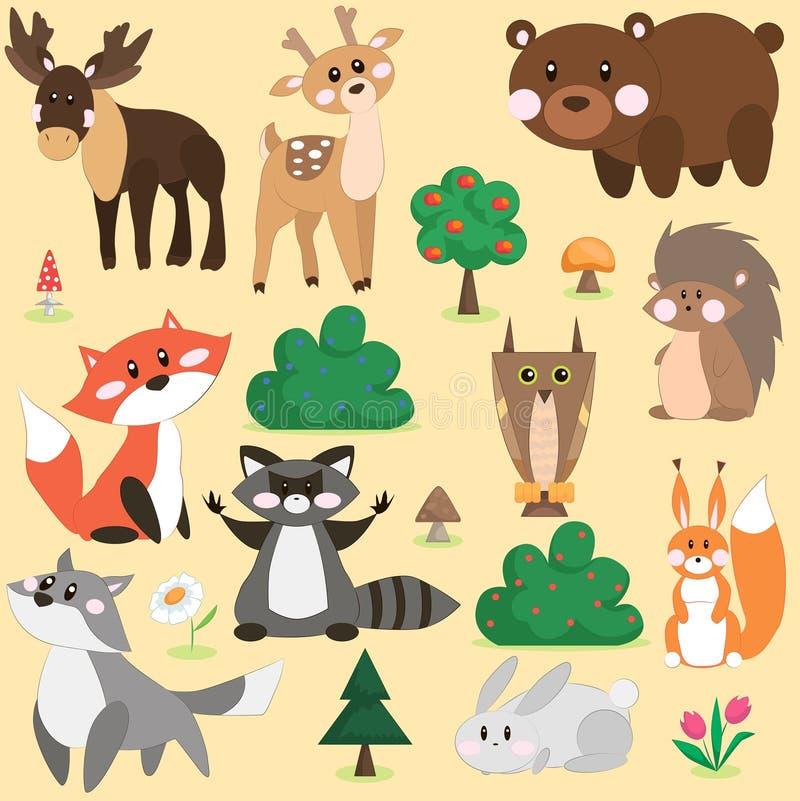 Διανυσματικό σύνολο δασικών ζώων στοκ εικόνα