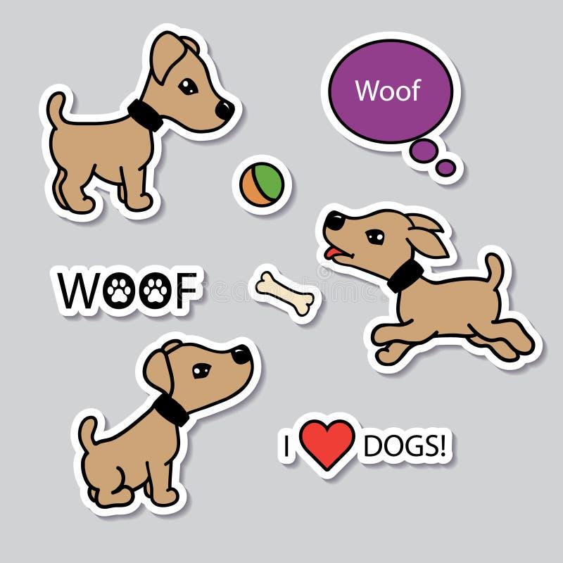 Διανυσματικό σύνολο αστείων σκυλιών κινούμενων σχεδίων διανυσματική απεικόνιση