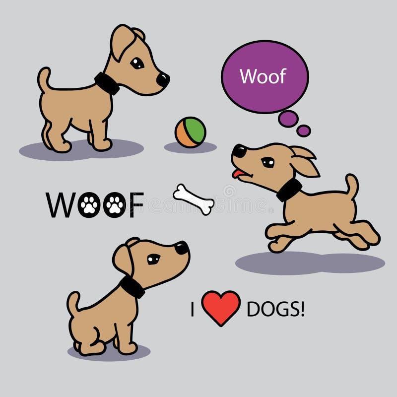 Διανυσματικό σύνολο αστείων σκυλιών κινούμενων σχεδίων ελεύθερη απεικόνιση δικαιώματος