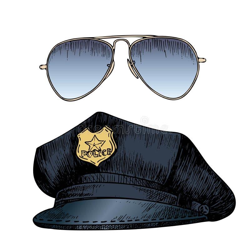 Διανυσματικό σύνολο αστυνομικού ομοιόμορφο Καπέλο ΚΑΠ και γυαλιά ηλίου αεροπόρων Συρμένο χέρι χαραγμένο ύφος απεικόνιση αποθεμάτων