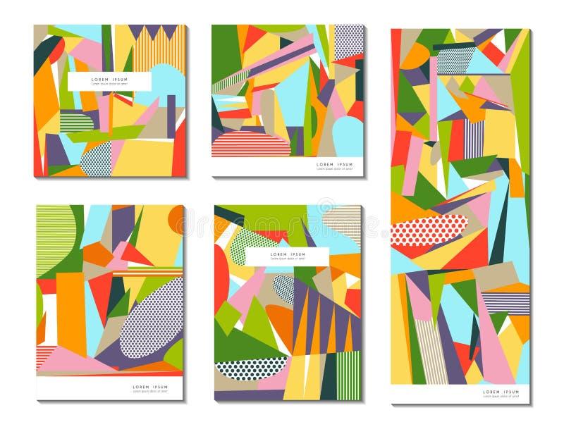 Διανυσματικό σύνολο αφηρημένων γεωμετρικών καρτών διανυσματική απεικόνιση