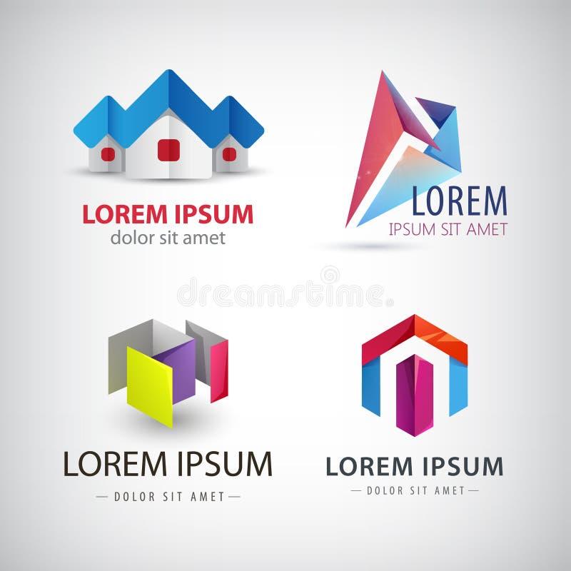 Διανυσματικό σύνολο αφηρημένων μορφών, λογότυπα, εικονίδια που απομονώνονται απεικόνιση αποθεμάτων