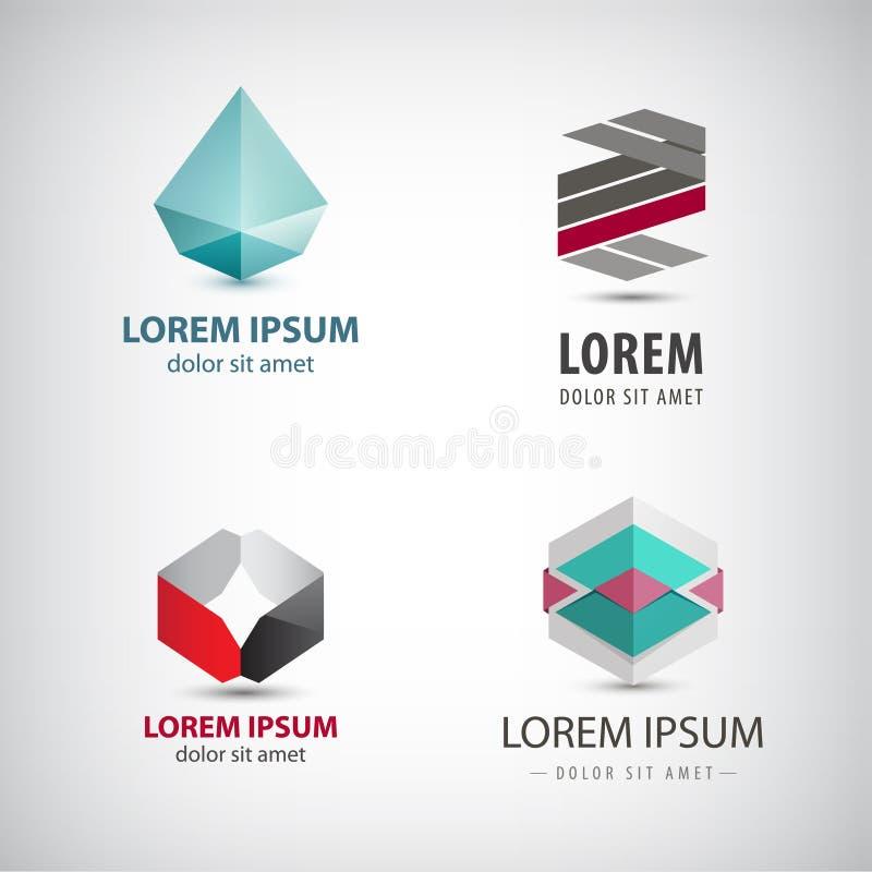 Διανυσματικό σύνολο αφηρημένων λογότυπων origami, κρύσταλλο, που εδροτομείται πολύτιμους λίθους, εικονίδια εγγράφου που απομονώνο απεικόνιση αποθεμάτων