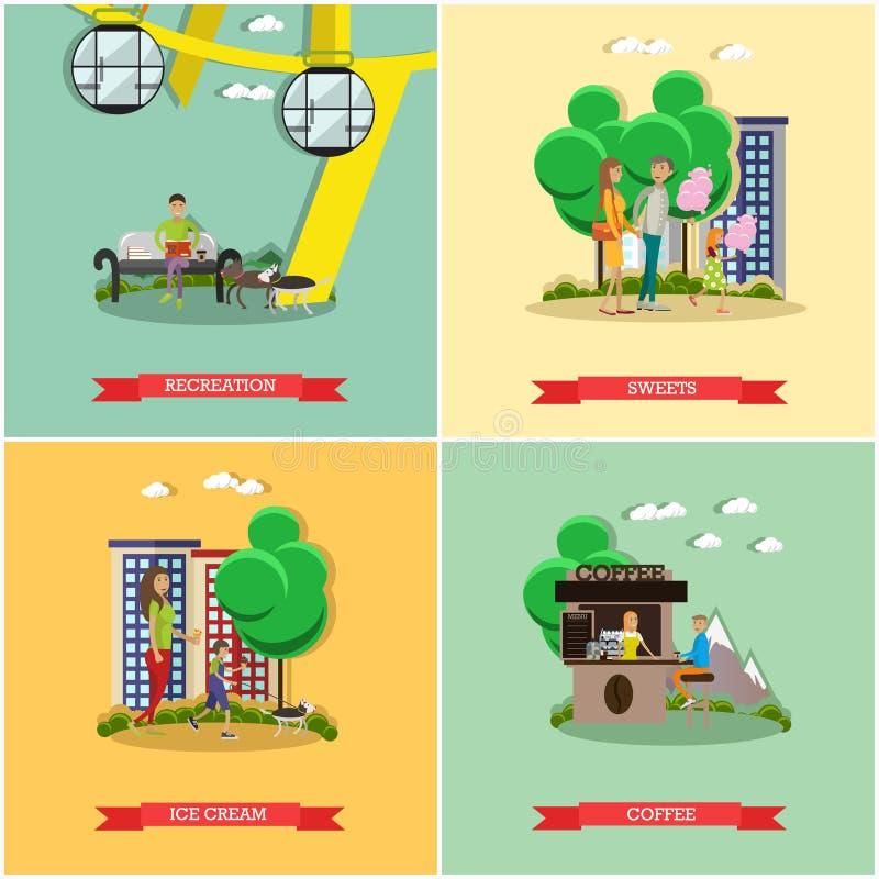 Διανυσματικό σύνολο αφισών έννοιας λούνα παρκ, εμβλήματα, επίπεδο ύφος απεικόνιση αποθεμάτων