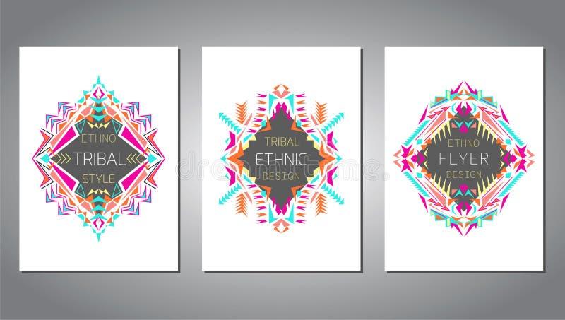 Διανυσματικό σύνολο γεωμετρικών ζωηρόχρωμων προτύπων φυλλάδιων για την επιχείρηση και την πρόσκληση Εθνικό, φυλετικό, των Αζτέκων διανυσματική απεικόνιση