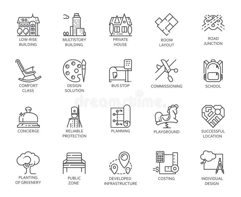 Διανυσματικό σύνολο 20 γραμμικών εικονιδίων της υποδομής πόλεων Εικονόγραμμα στο γραμμικό ύφος για τα προγράμματα διαφήμισης και  διανυσματική απεικόνιση