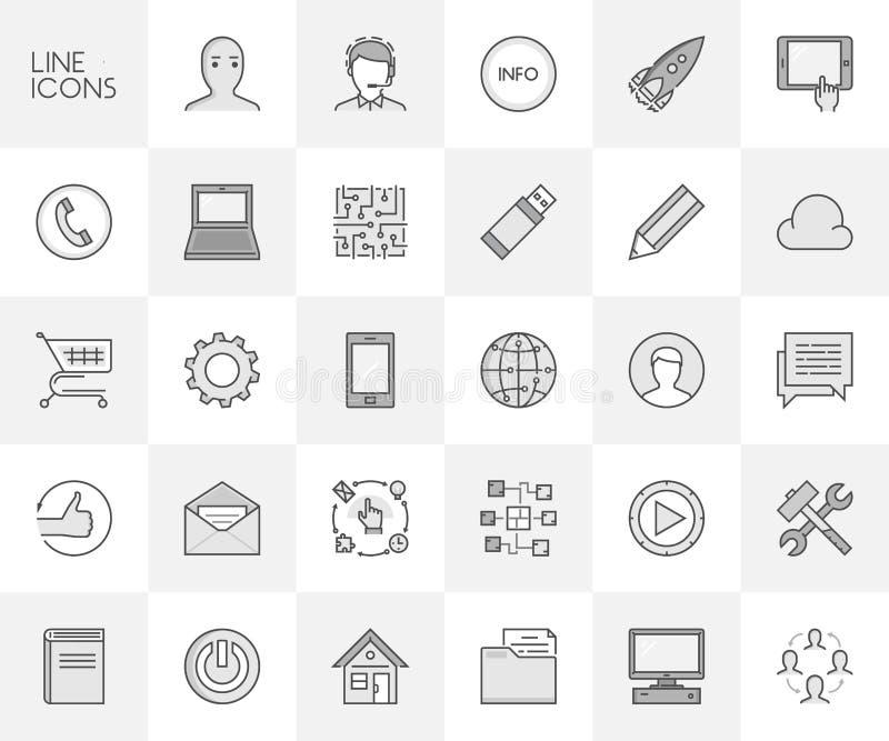 Διανυσματικό σύνολο γραμμών εικονιδίων για app την ανάπτυξη και τη σε απευθείας σύνδεση επιχείρηση διανυσματική απεικόνιση