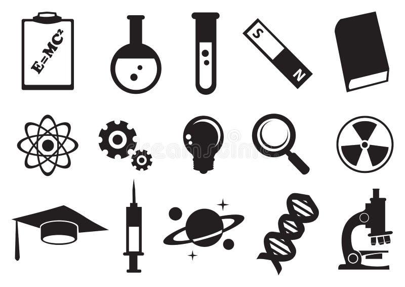 Διανυσματικό σύνολο εικονιδίων εκπαίδευσης επιστήμης απεικόνιση αποθεμάτων