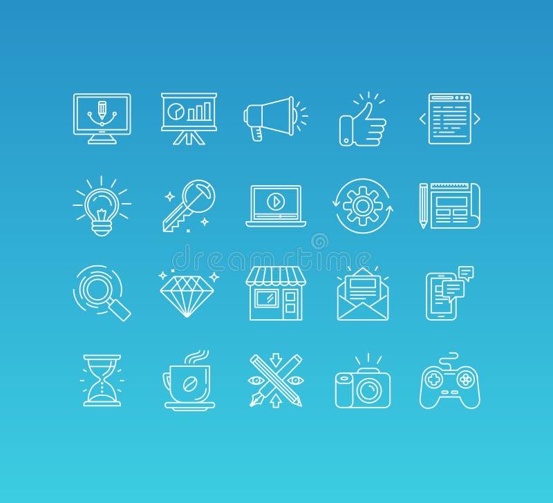 Διανυσματικό σύνολο 20 εικονιδίων και σημαδιού στο μονο ύφος γραμμών ελεύθερη απεικόνιση δικαιώματος