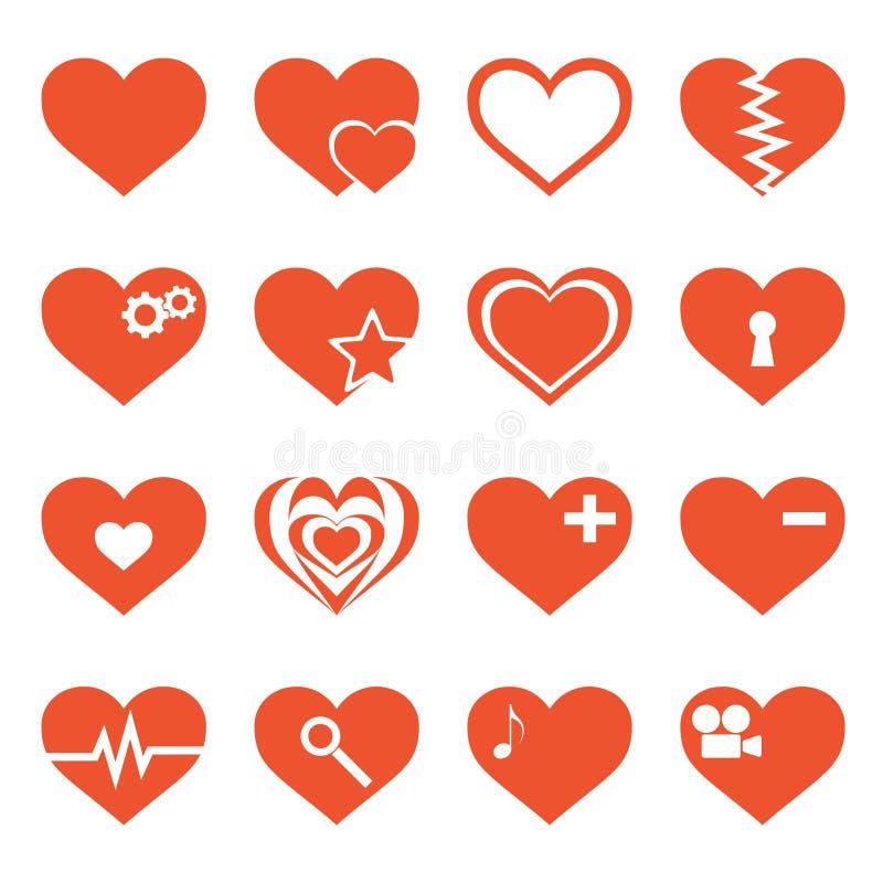 Διανυσματικό σύνολο εικονιδίων καρδιών ελεύθερη απεικόνιση δικαιώματος
