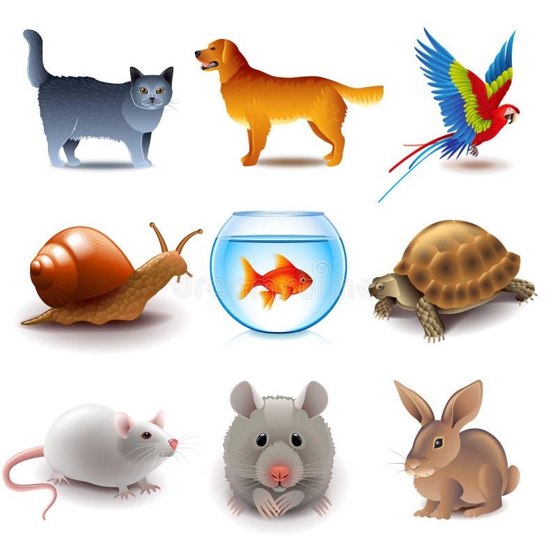 Διανυσματικό σύνολο εικονιδίων κατοικίδιων ζώων απεικόνιση αποθεμάτων