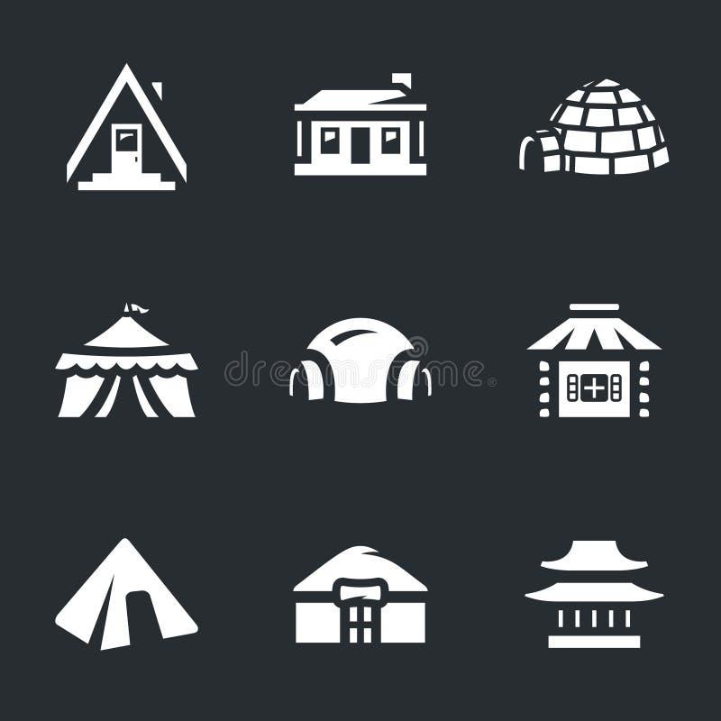 Διανυσματικό σύνολο εικονιδίων κτηρίων διανυσματική απεικόνιση