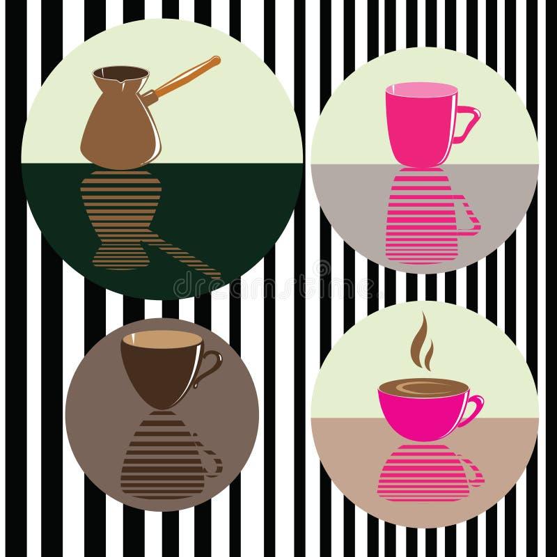 Διανυσματικό σύνολο εικονιδίων με τον καφέ, πιό cafetier Υπόβαθρο για τον καφέ στοκ εικόνα