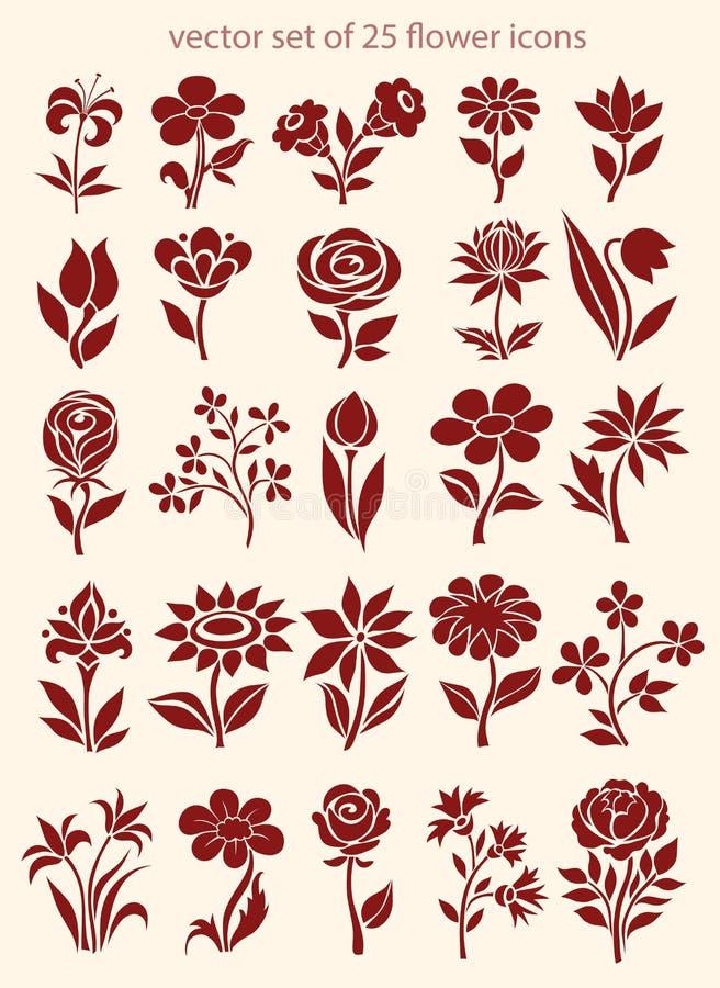 Διανυσματικό σύνολο εικονιδίων λουλουδιών απεικόνιση αποθεμάτων