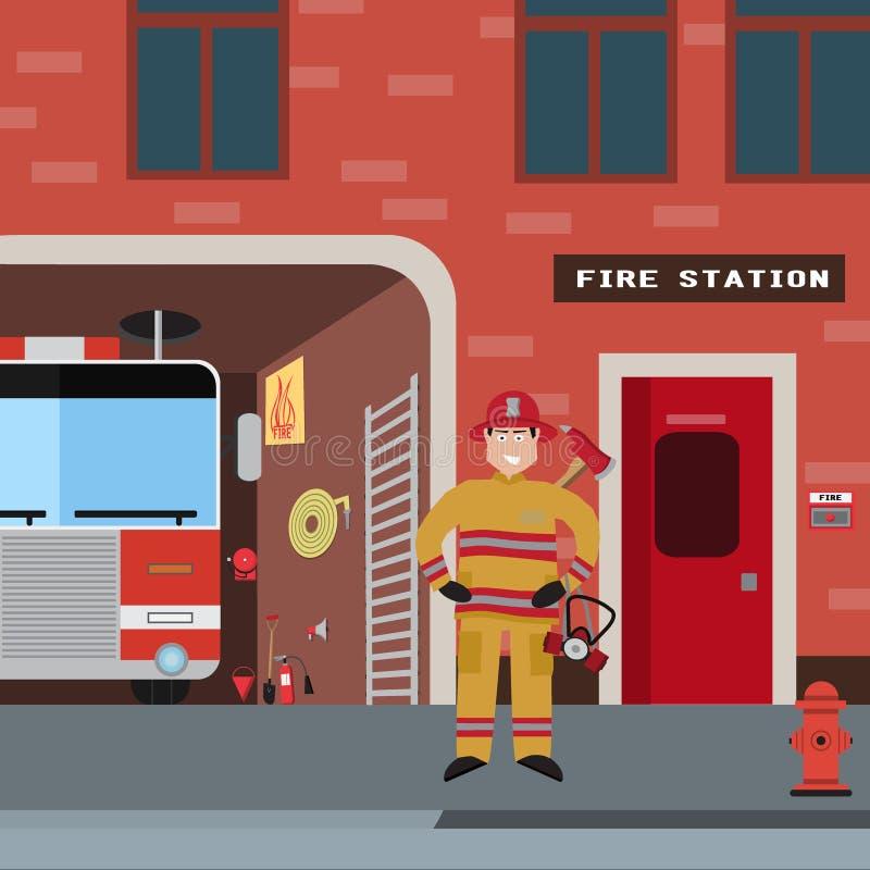 Διανυσματικό σύνολο εικονιδίων πυροσβεστών διανυσματική απεικόνιση