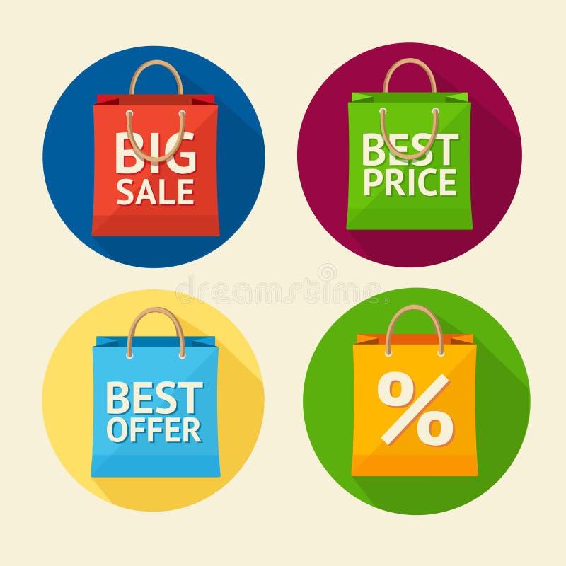 Διανυσματικό σύνολο εικονιδίων πώλησης τσαντών εγγράφου Επίπεδο σχέδιο ελεύθερη απεικόνιση δικαιώματος