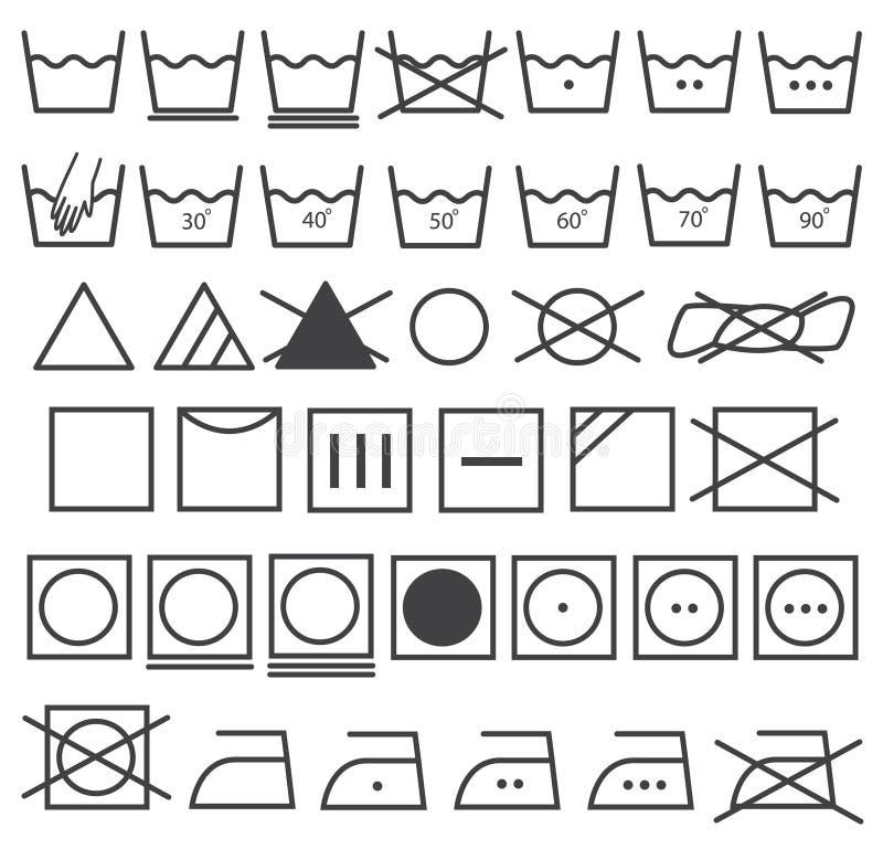Διανυσματικό σύνολο εικονιδίων πλυντηρίων (σύμβολο πλύσης) διανυσματική απεικόνιση