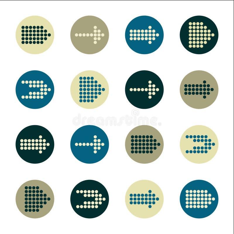 Διανυσματικό σύνολο εικονιδίων σημαδιών βελών. απεικόνιση αποθεμάτων