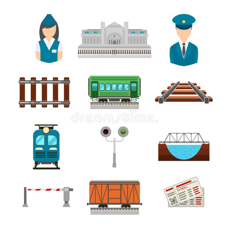 Διανυσματικό σύνολο εικονιδίων σιδηροδρόμου στο επίπεδο ύφος ελεύθερη απεικόνιση δικαιώματος