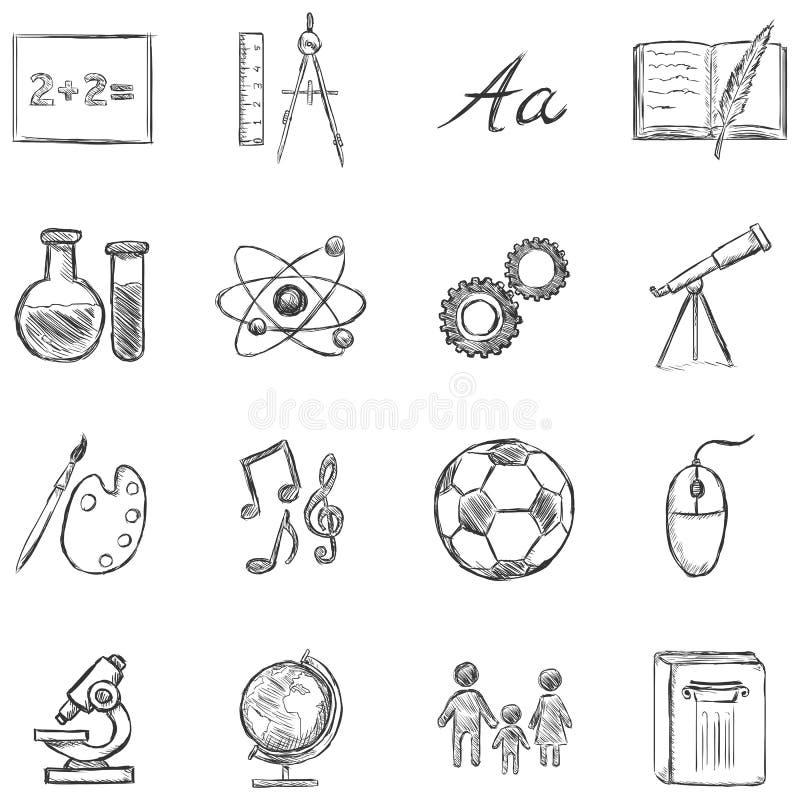 Διανυσματικό σύνολο εικονιδίων σχολικών θεμάτων απεικόνιση αποθεμάτων