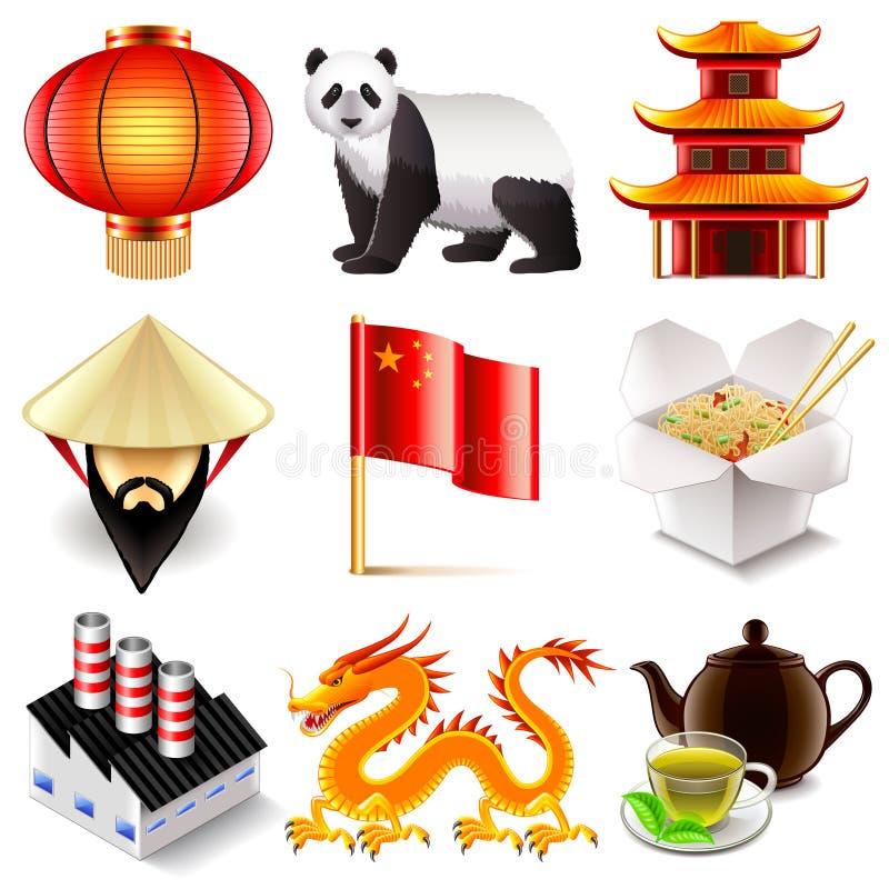 Διανυσματικό σύνολο εικονιδίων της Κίνας διανυσματική απεικόνιση