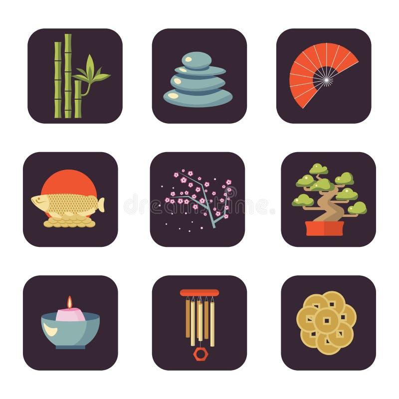 Διανυσματικό σύνολο εικονιδίων της Shui Feng διανυσματική απεικόνιση