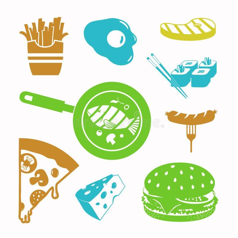 Διανυσματικό σύνολο εικονιδίων τροφίμων μαύρο ελεύθερη απεικόνιση δικαιώματος