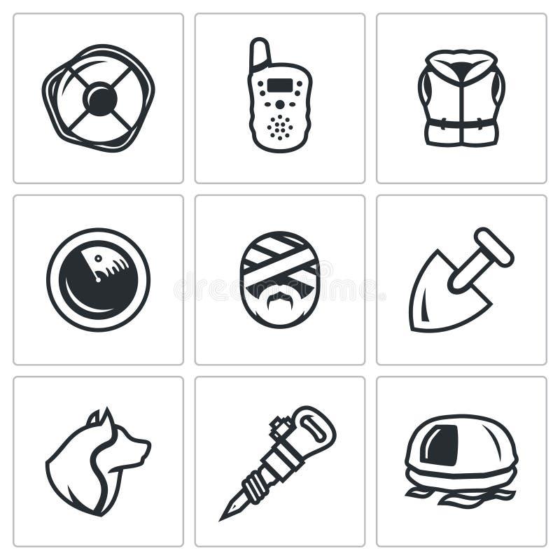Διανυσματικό σύνολο εικονιδίων υπηρεσιών αναζήτησης και διάσωσης Lifebuoy, ραδιόφωνο, σακάκι ζωής, ραντάρ, θύμα, φτυάρι, σκυλί, κ απεικόνιση αποθεμάτων