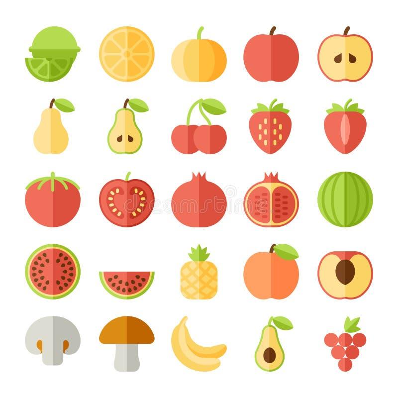 Διανυσματικό σύνολο εικονιδίων φρούτων επίπεδο ελεύθερη απεικόνιση δικαιώματος