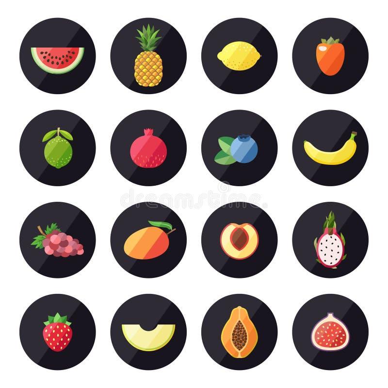Διανυσματικό σύνολο εικονιδίων φρούτων Σύγχρονο επίπεδο σχέδιο ελεύθερη απεικόνιση δικαιώματος
