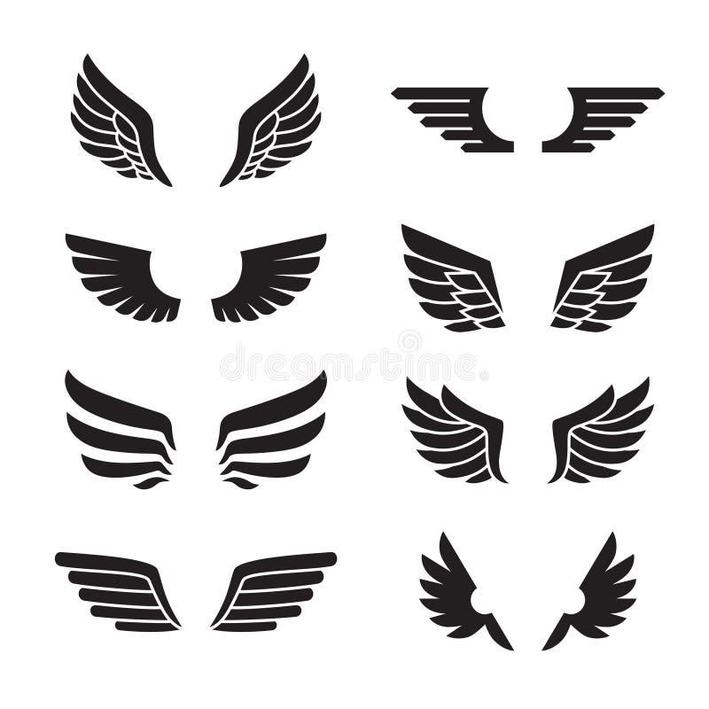 Διανυσματικό σύνολο εικονιδίων φτερών μαύρο Σχέδιο Minimalistic διανυσματική απεικόνιση